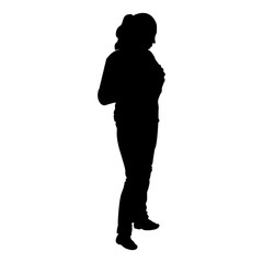 woman stands silhouette isolated on white background vector illustration
