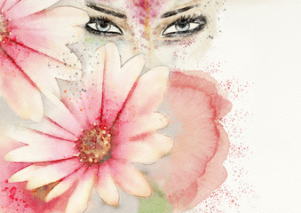 In the garden.Watercolor abstract portrait of woman.