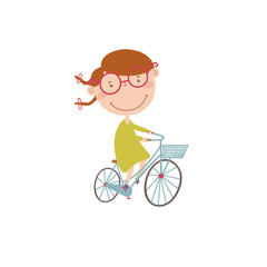 Vector illustration with girl on a bicycle.