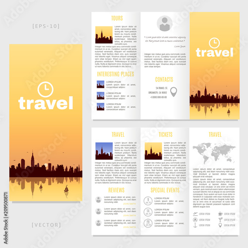 Tri Fold Travel Brochure Template Vector Landscape With A View Of
