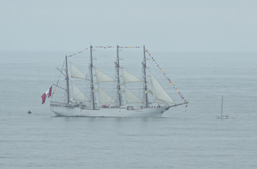 Peruvian-registered sailing ship Union takes part in the 'Velas de America' sailing encounter in Lima