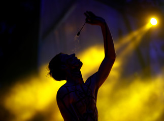 Artist performs during Festival of Fire Theaters at the Museum complex of ancient crafts and technologies Dudutki
