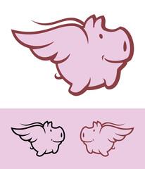 Flying pig icon mascot