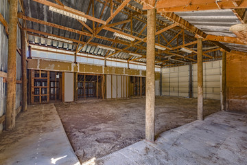 Interior of barn with wooden beams
