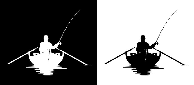 Fisherman in boat silhouette