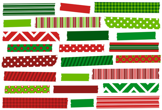 Christmas red and green washi tape strips. Holiday stickers, adhesive strips.