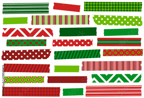 Christmas Red And Green Washi Tape Strips Eps File Has Global