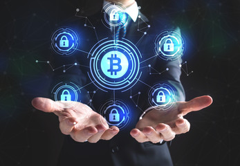 Bitcoin Security Theme with businessman on a black background