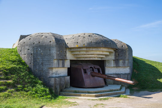 Remains of the German naval artillery battery at Longues Sur Mer in Normandy, located between the Omaha and Gold landing beaches.