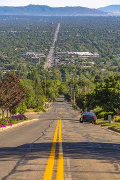 Salt Lake City Views looking down hill on road