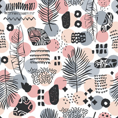 Seamless pattern with hand drawn branches. Forest background.