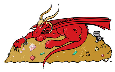 Red Cartoon Dragon Hoarding Gold and Gems