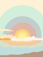 Illustration of sunrise in the sea in delicate pastel shades with clouds and seashore for poster, decoration, book cover, background