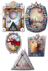 Door stickers Imagination Fantastic landscapes, fairytale and enchanted in gothic and steampunk frames