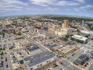 Fargo is a the largest City in North Dakota on the Red River Wall mural