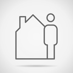 home simple flat design vector drawing draft