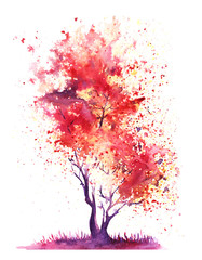 Abstract red tree with a crown of multi-colored splashes. Hand-Drawn Watercolor on a paper Illustration