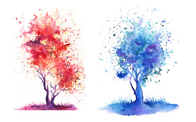 Set of two abstract tree with a crown of multi-colored splashes. Hand-Drawn Watercolor on a paper Illustration