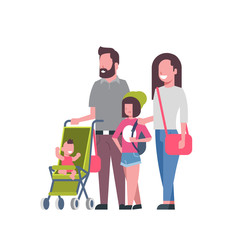 father mother daughter baby son in stroller full length avatar on white background, successful family concept, flat cartoon vector illustration