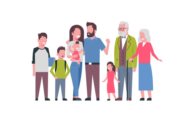 grandparents parents children grandchildren, multi generation family, full length avatar on white background, happy family together concept, tree of genus flat cartoon vector illustration