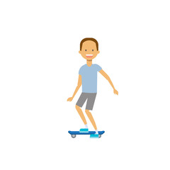 young boy riding electro scooter over white background. cartoon full length character. flat style vector illustration