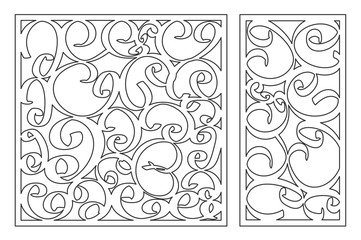 Template for cutting. Abstract line pattern. Laser cut. Set ratio 1:2, 1:1. Vector illustration.