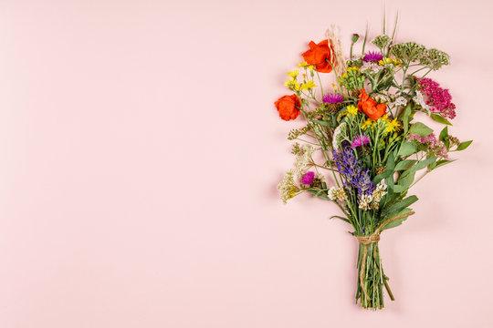 Wild flower bouquet on pastel color background