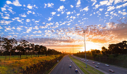 Sunset over the M3 freeway in Melbourne, Australia.