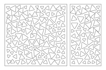 Set decorative card for cutting. Repeat triangles pattern. Laser cut panel. Ratio 1:1, 1:2. Vector illustration.