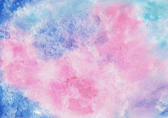 Fashion watercolor background for design in blue and pink colors.