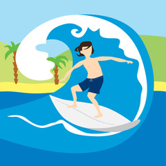 Surfer man with surfboard standing and riding on ocean wave. Cartoon character. Recreational beach water sport. Surf travel