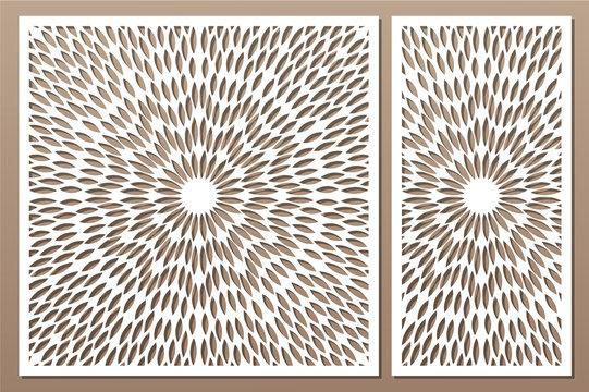 Set decorative card for cutting. Scandinavian style pattern. Laser cut panel. Ratio 1:1, 1:2. Vector illustration.