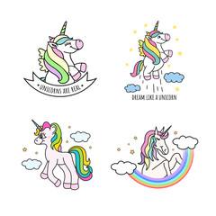 Set of cute hand drawn unicorns. Vector illustration of funny doodle unicorns