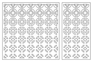 Set decorative card for cutting. Geometric figures pattern. Laser cut panel. Ratio 1:1, 1:2. Vector illustration.