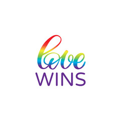 Hand drawn lettering card. The inscription: love wins. Perfect design for greeting cards, posters, T-shirts, banners, print invitations.