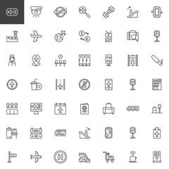 Airport outline icons set. linear style symbols collection, line signs pack. vector graphics. Set includes icons Flight Ticket, Airplane, Exchange, Flight attendant, Passport, Conveyor, Metal detector