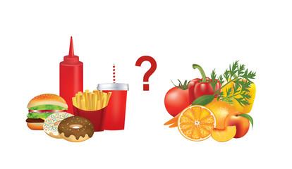 Healthy and unhealthy food, vector