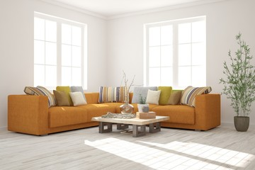 White modern room with orange sofa. Scandinavian interior design. 3D illustration