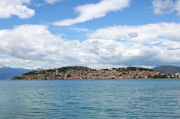 Ohrid city and lake landscape Macedonia summer season