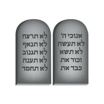 Ten Commandments. Concept of Judaic holiday Shavuot. Happy Shavuot in Jerusalem.