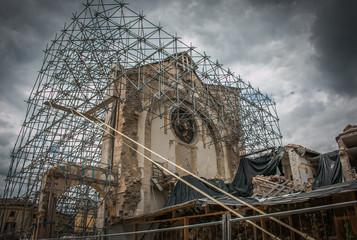 Basilica di San Benedetto a Norcia distrutta dal forte terremoto del 30 Ottobre