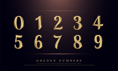 Elegant Numbers Gold Colored Metal Chrome alphabet font. Number typography classic style golden font set for logo, Poster, Invitation. vector illustration