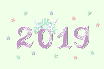 Vector Illustration 2019 with Merimaid's Sea Shell Crown as Happy New Year postcard, party invitation, postcard motive, Merry Christmas card.