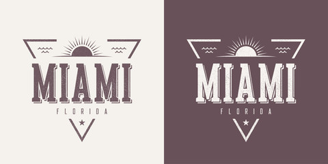 Miami Florida textured vintage vector t-shirt and apparel design