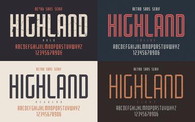 Highland vector condensed bold inline regular and light retro ty