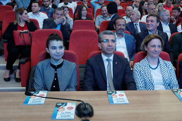 Elif Our Bayram a candidate for President Tayyip Erdogan's ruling AK Party in the June 24 parliamentary election, attends a party meeting in Izmit