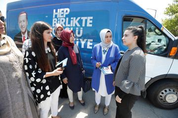 Elif Our Bayram a candidate for Turkish President Tayyip Erdogan's ruling AK Party in the June 24 parliamentary election, is seen during an election campaign in Izmit