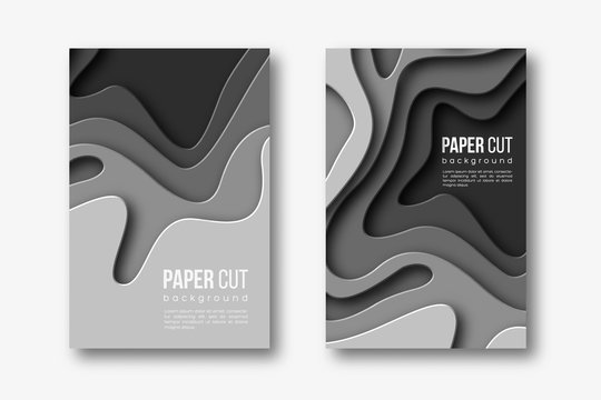 3d paper cut vertical banners. Shapes with shadow in different grey color tones. Papercraft layered art. Design for decoration, business presentation, posters, flyers, prints. Vector.