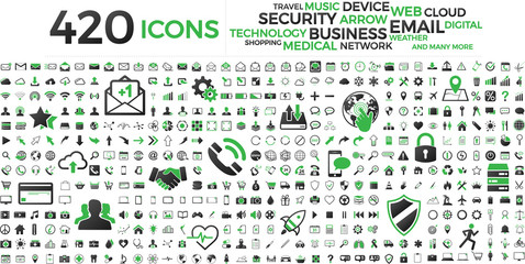 Wall Mural - Black and green web business technology icons set