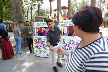 Birhat Demir, a candidate for the pro-Kurdish HDP in the June 24 parliamentary election, is pictured during an election campaign in Denizli